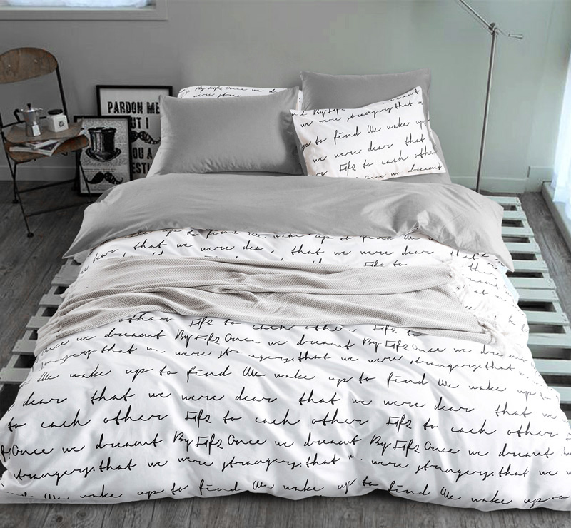 letter Printing Duvet Cover Sets King Activity Bedding sets RU USA <font><b>Size</b></font>,Quilt cover Sheet Set Bedroom Bedding <font><b>Bed</b></font> Linen Grey