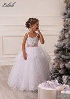 Stunning Elegant Lace Appliques Sleeveless Spaghetti Straps Ruffles Floor Length Heirloom White Holy Communion Kids Dresses