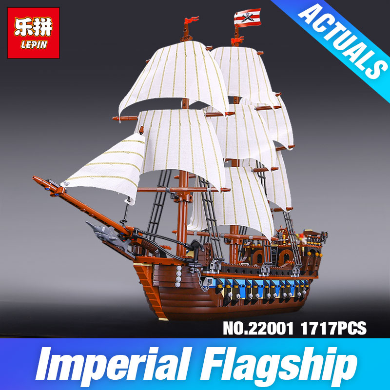 NEW LEPIN 22001 Pirate Ship warships Model Building Kits Block Briks Gift 1717pcs Compatible DIY 10210 Educational Toys lepin 22001 pirates series the imperial war ship model building kits blocks bricks toys gifts for kids 1717pcs compatible 10210