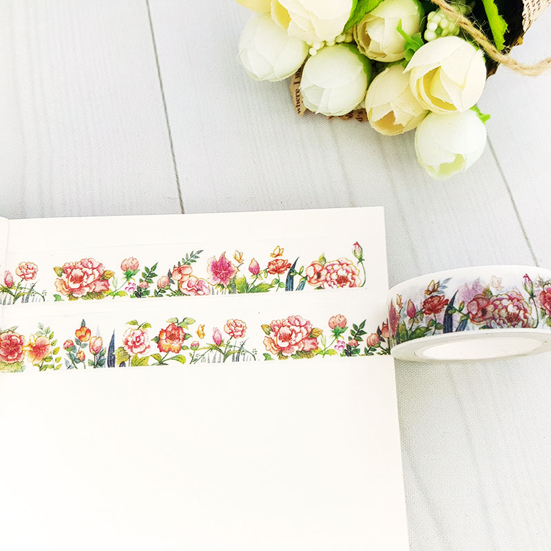 15mm X 10m lovely Plant flowers DIY Washi tapes / Masking Tape / Decorative Adhesive Tapes / School Supplies Fashion diary