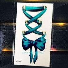 1 ШТ. 3D Прекрасный Бантом Временные Татуировки Наклейки PAQ-051 Синий Лук галстук пасты Татуировки Боди-Арт Для Женщин Девушка Школы Татуировки 2016
