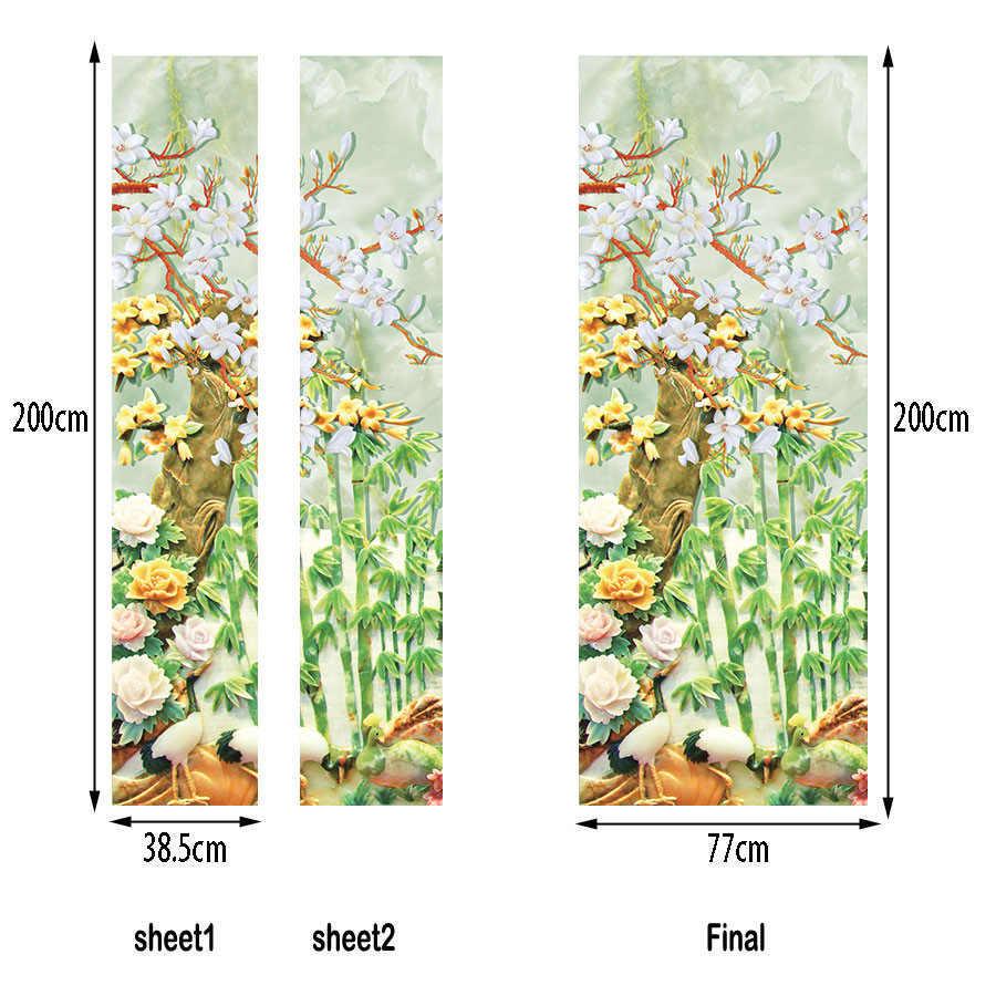 Традиционный китайский стиль дверные наклейки 77x200 см бамбуковый лес искусство домашний Декор украшение для двери самоклеющиеся DIY дверь обновление обои