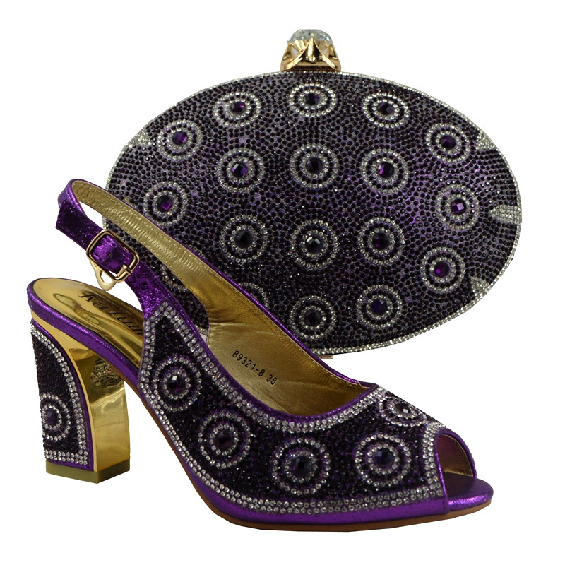 (No.89231-8) Elegant Purple For African Matching Shoes And Bag For Evening Party Stones Decoration Italian Shoes With Bag Set