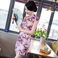 Sexy Silk Satin Floral Chinese Traditional Evening Dress Oriental Cheongsam Mini Cap Sleeve Qipao Women Clothing QP54