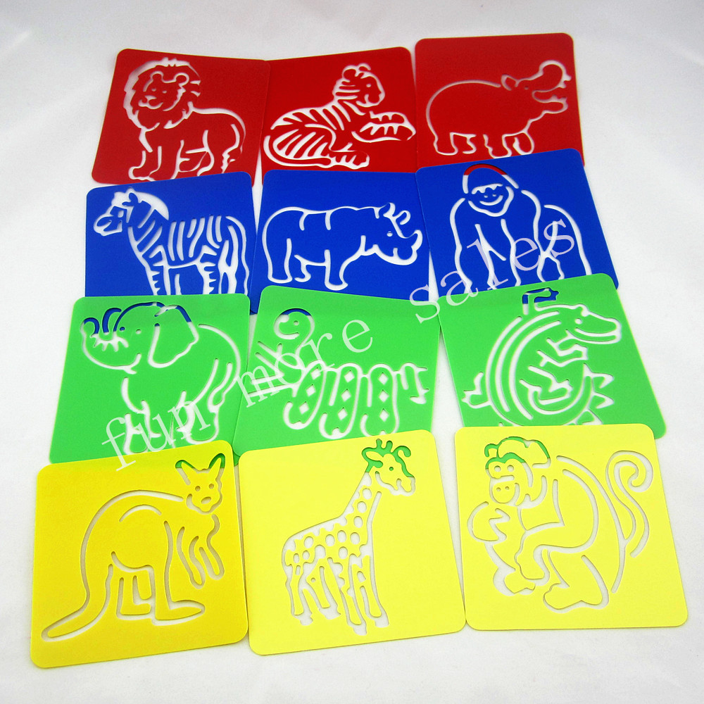 12Designs / set Stencils for painting Zoo animal Kids drawing templates Papan plastik bayi mainan panas untuk kanak-kanak 128x128x0.6mm