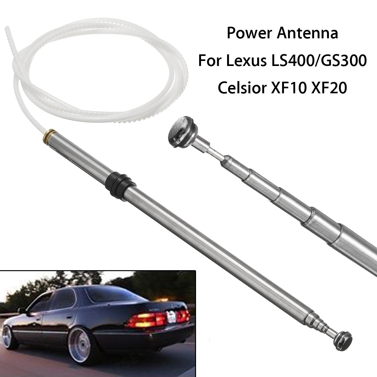 Power Antenna Aerial AM FM Radio Mast Cable For Lexus/LS400/GS300 Celsior XF10 Tooth Core Silver