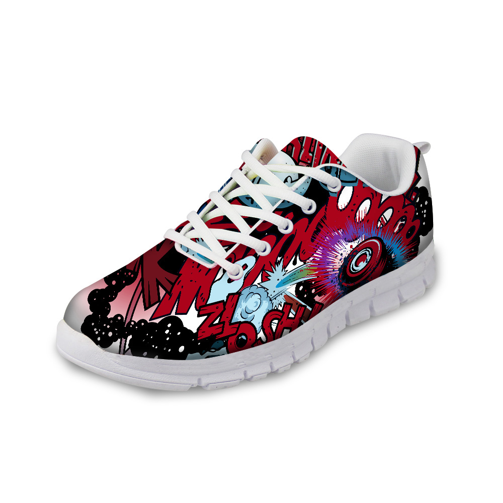 NOISYDESIGNS 3D Graffiti Prints Autumn Summer flat Shoes Woman 2018 Fashion Women Casual Mesh Breathable Lace-up Flat Shoe