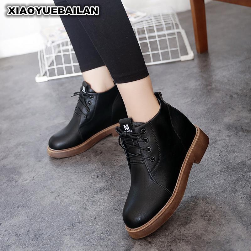 2017 New Winter Shoes With Thick Soles And Coarse Velvet Boots Martin Female Retro Lace martin new winter with thick british style short canister female fall side zipper boots