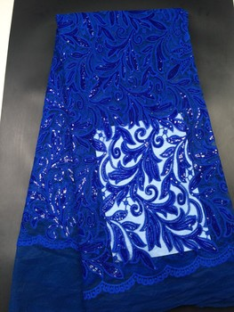 2018 Latest French Nigerian Laces Fabrics High Quality Tulle African Laces Fabric Wedding African French Tulle Lace L123A Blue
