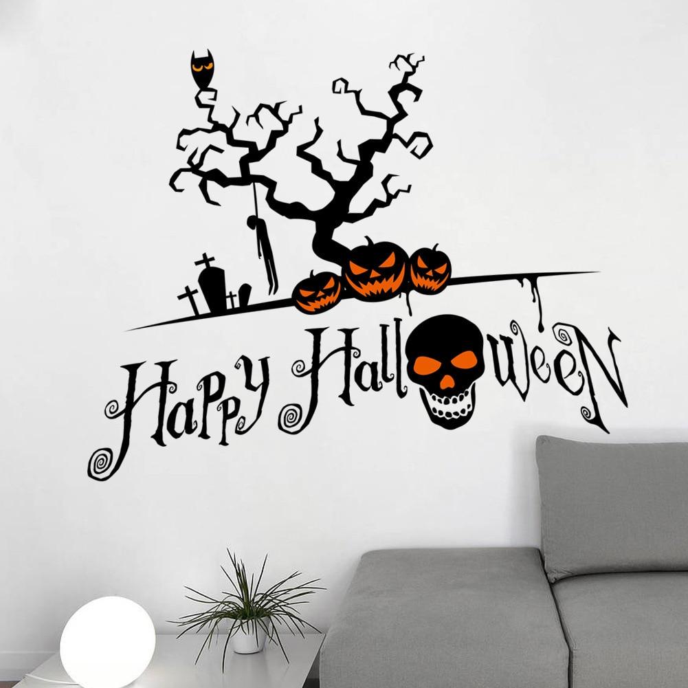 Happy Halloween Tips On Home Decoration 1: Bar Toko Halloween Labu Tengkorak Dekorasi Jendela Stiker Kreatif Stiker Hitam Inggris Selamat
