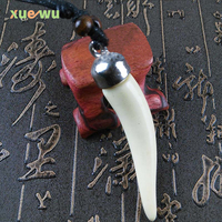 Cool Imitation Yak Bone Shark Tooth Necklace White Teeth Amulet Pendant for men women's jewelry