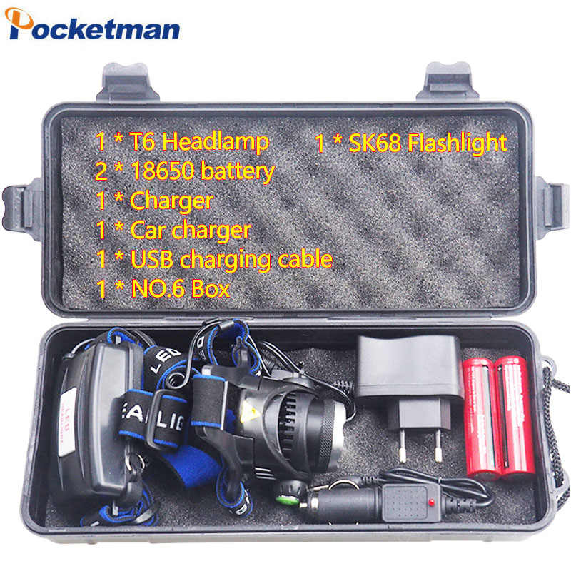 18650 Zoom Rechargeable Headlight Led Headlamp XM-L T6 3800LM Waterproof adjustable Kepala Cahaya Lampu + 2x18650 Baterai + Charger