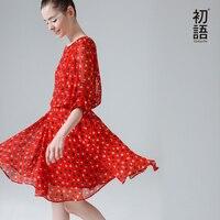 2015 To Youth Elegant Women Vintage O Neck Half Sleeve Polka Dot Printed Chiffon Casual Elastic