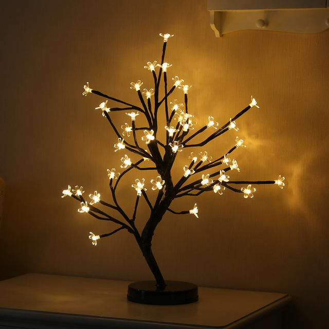 48 Heads Cherry Blossom Tree Night Lights Living Room Plum Lamp LED Rose