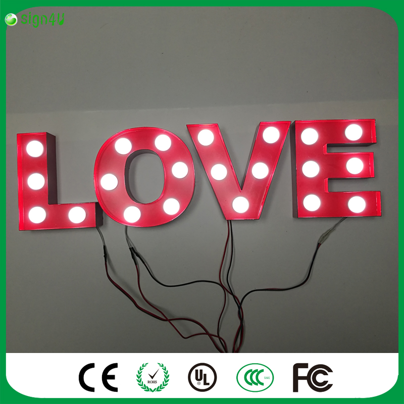 цена RED vintage LOVE letters LED Marquee Sign LIGHT UP night light letters for wedding decoration онлайн в 2017 году