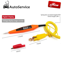 2.5 32V Spring Line Car Digital LCD Electric Voltage Tester Probe Detector Tester With LED Light for circuit repair Testing Tool