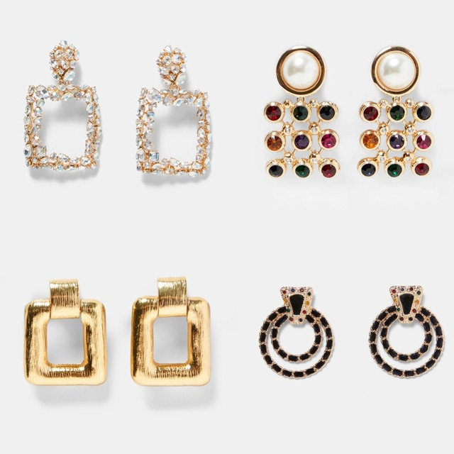 Best lady Fashion ZA Resin Drop Earring For Women Wedding Jewelry Boho Elegant Shiny Dangle Statement Earrings Christmas Gifts 4