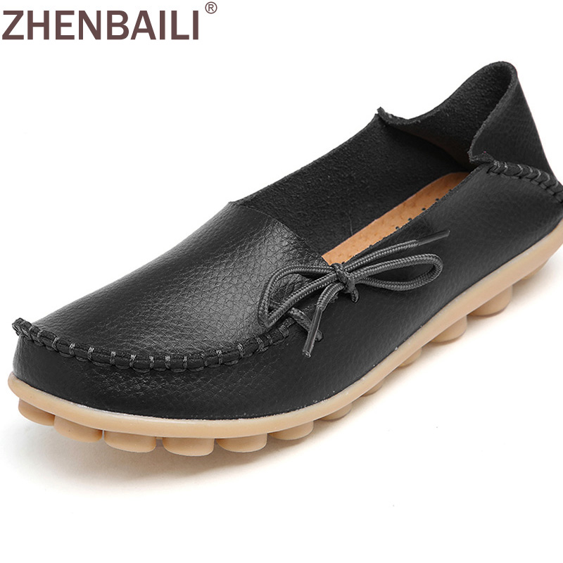 Hot Sale Genuine Leather Women Shoes 2017 Summer Fashion Lace up Casual Flat Shoes Peas Non-Slip Outdoor Shoes Plus Size 35-44