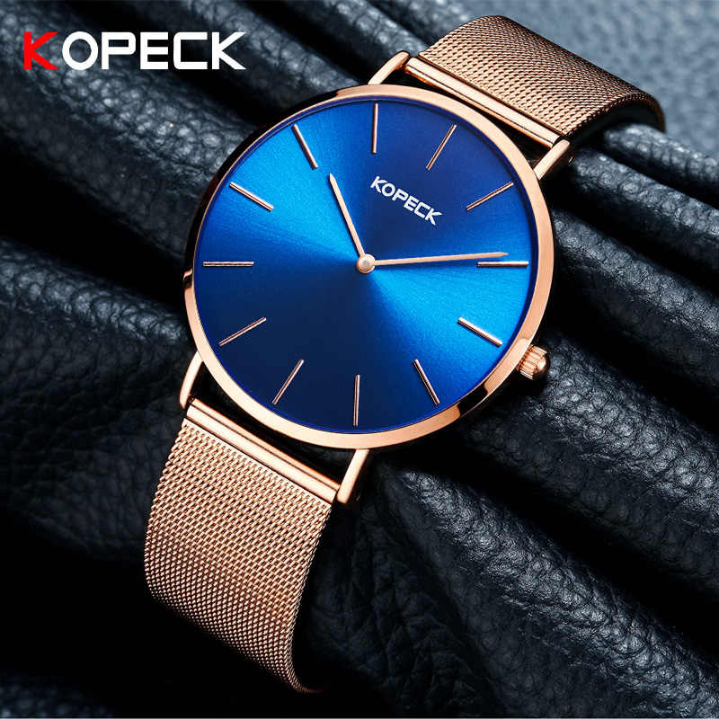 Kopeckトップブランドファッションミラノストラップ腕時計女性6ミリメートルスリムレディースクラシックブルーダイヤル時計女性腕時計dames horloges