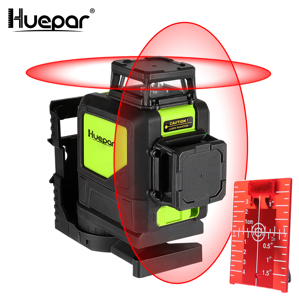 Huepar 8 lines laser level Self leveling 3D Laser Level Red Beam 360 Degree Coverage Horizontal