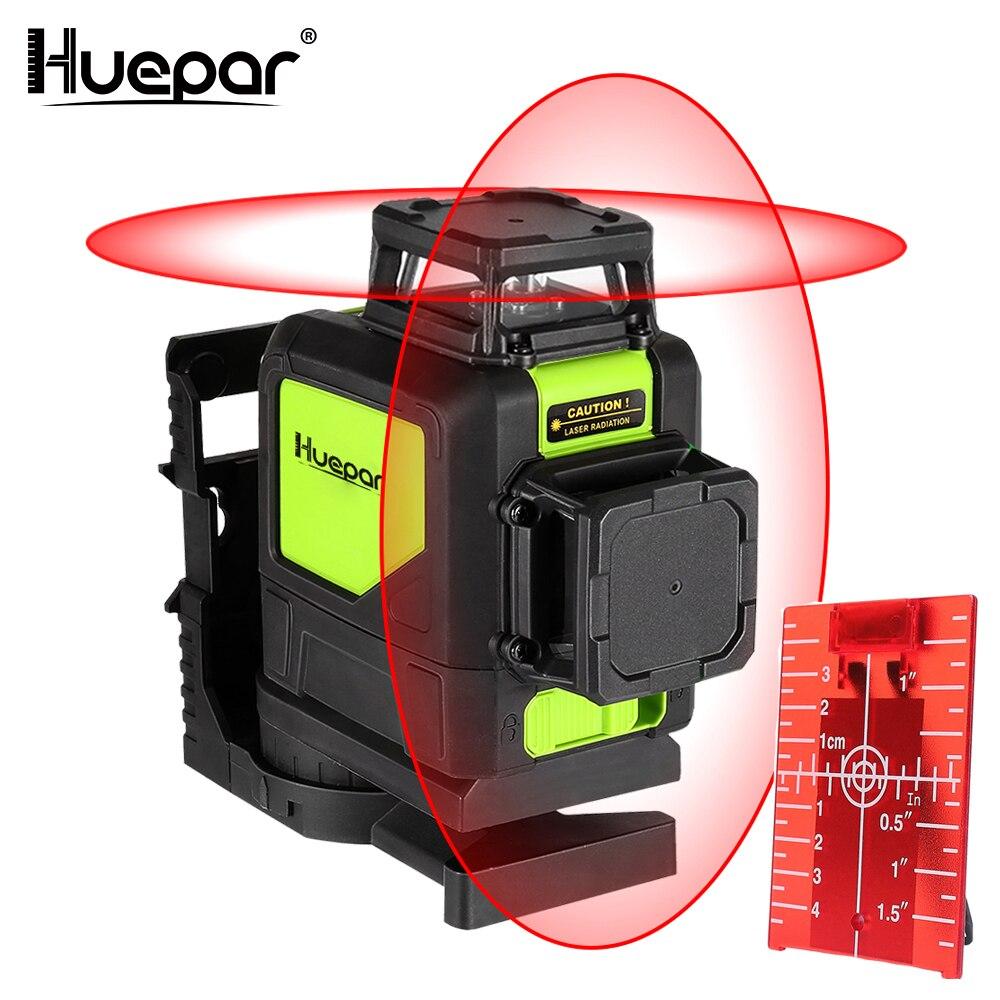 Huepar 8 lignes niveau laser Auto-nivellement 3D Niveau Laser Rouge Faisceau 360-Couverture Degré Horizontal et Vertical laser avec Mode D'impulsion