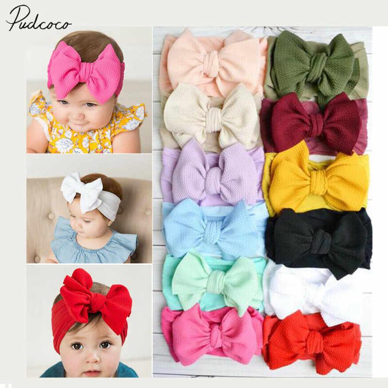 2019 תינוק אביזרי תינוקות תינוקת חמוד Bow בגימור יילוד מוצק כובעי כיסוי ראש ניילון אלסטי להקת שיער מתנות אבזרי