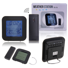 Promo offer Wireless Weather Station LED Temperature Clock Thermometer Humidity Meter LED Multi-functional Weather Station