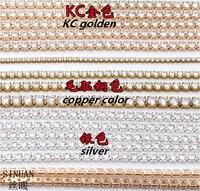 Tape Shape Garde AAA Crystal Zircon Stone Overgild Silvering Copper Cup Chain 1yard Lot DIY Decorate
