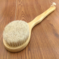 New Natural Bristle Long Horse Hair Handle Wooden Wood Bath Shower Body Back Brush Spa Scrubber