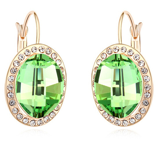 Mulheres Brincos de Cristal austríaco Banhado A Ouro Indiano Moda Jóias e Acessórios Para Meninas 4 Cores Grande Menina de Cristal Bijoux