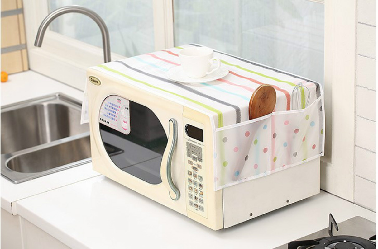 1pc transparent printing dust cover microwave cover microwave oven hood towel with storage bag 5zcf235