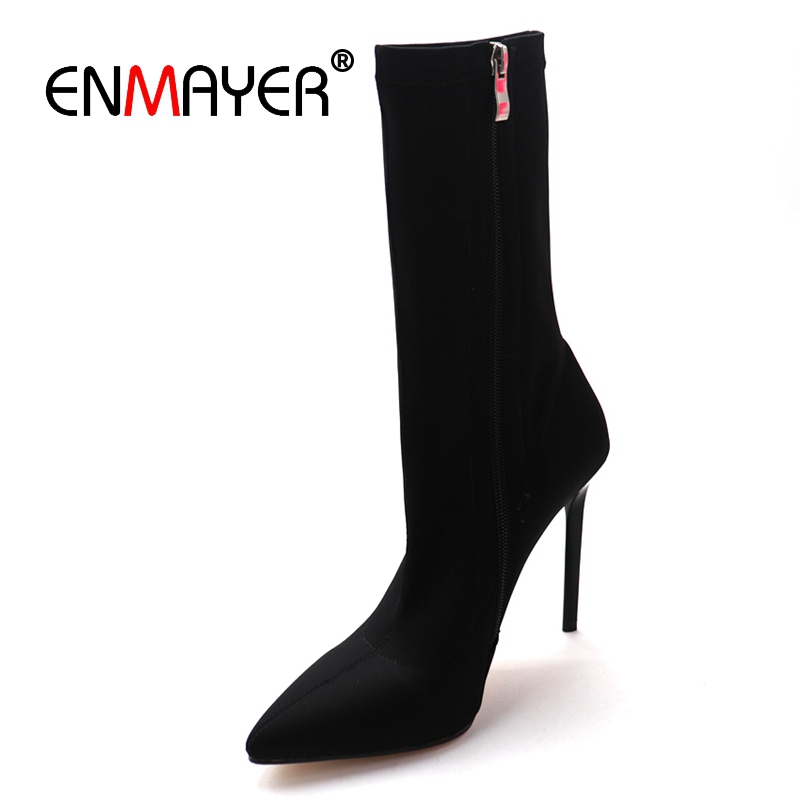 ENMAYER 2019 New Arrival Women Super High Fashion Boots Stretch Fabric Mid Calf Zip Women Shoes Pointed Toe Size 34 43 LY2145
