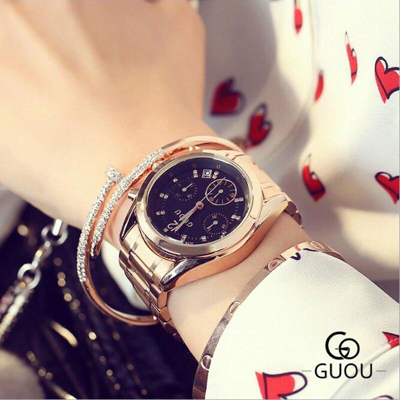 Guou marca relojes elegantes señoras reloj de lujo Glitter rhinestone señoras relojes oro rosa relojes mujer 2017 inoxidable