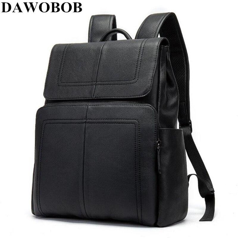 Sac à dos scolaire étanche 14 pouces en cuir sac à dos pour ordinateur portable hommes voyage adolescent sac à dos sac mâle sac à dos Mochila