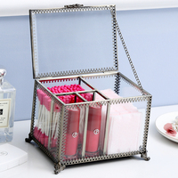 ANFEI New Retro Exquisite Glass Storage Box Organizer Makeup Jewelry Ring Earring Storage casket Decorative Dressing Table C218