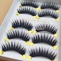 Cruz maquiagem Pestanas Falsas Preto Terrier Algodão Grosso Winged Lashes Natural Longos Cílios Postiços 1 caixa de 5 pares