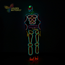 EL Suits 2016 Fashion LED clothing Luminous Costumes Glowing Gloves Shoes Light Clothing Men EL masks Clothe Dance Free Shipping