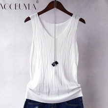 Voobuyla New 2018 Autumn Women Knitted Vest Tops Casual Sleeveless Tank Summer Sling Tops Femela Black White Colete Feminino(China)