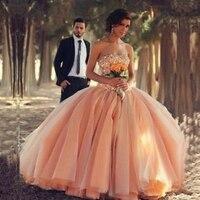 Ball Gown Strapless Sleeveless Beaded Crystal Pink Bride Dresses vestido de noiva 2019 Luxury Wedding Dresses Made in China