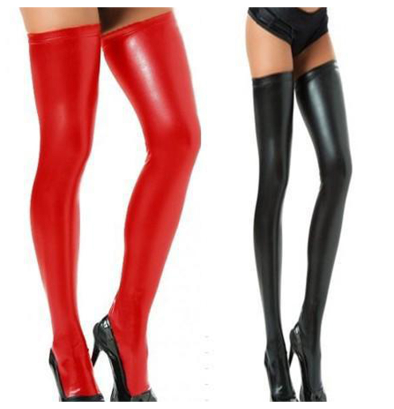 Wetlook HOT Sexy Night Club Latex Stockings Faux Leather Stockings Women Black Red Silver Purple Elastic Faux Leather Stockings (7)