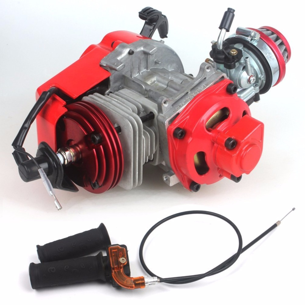 MYMotor 49cc 52cc Big Bore Pocket Bike Engine with Performance Cylinder CNC Engine Cover Racing Carburetor