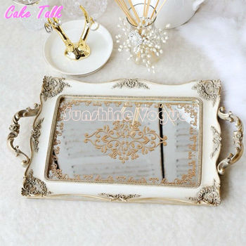 Vintage decoration cake tray gold mirror glass cupcake plate perfume holder mirrored makeup tray wedding party home craft