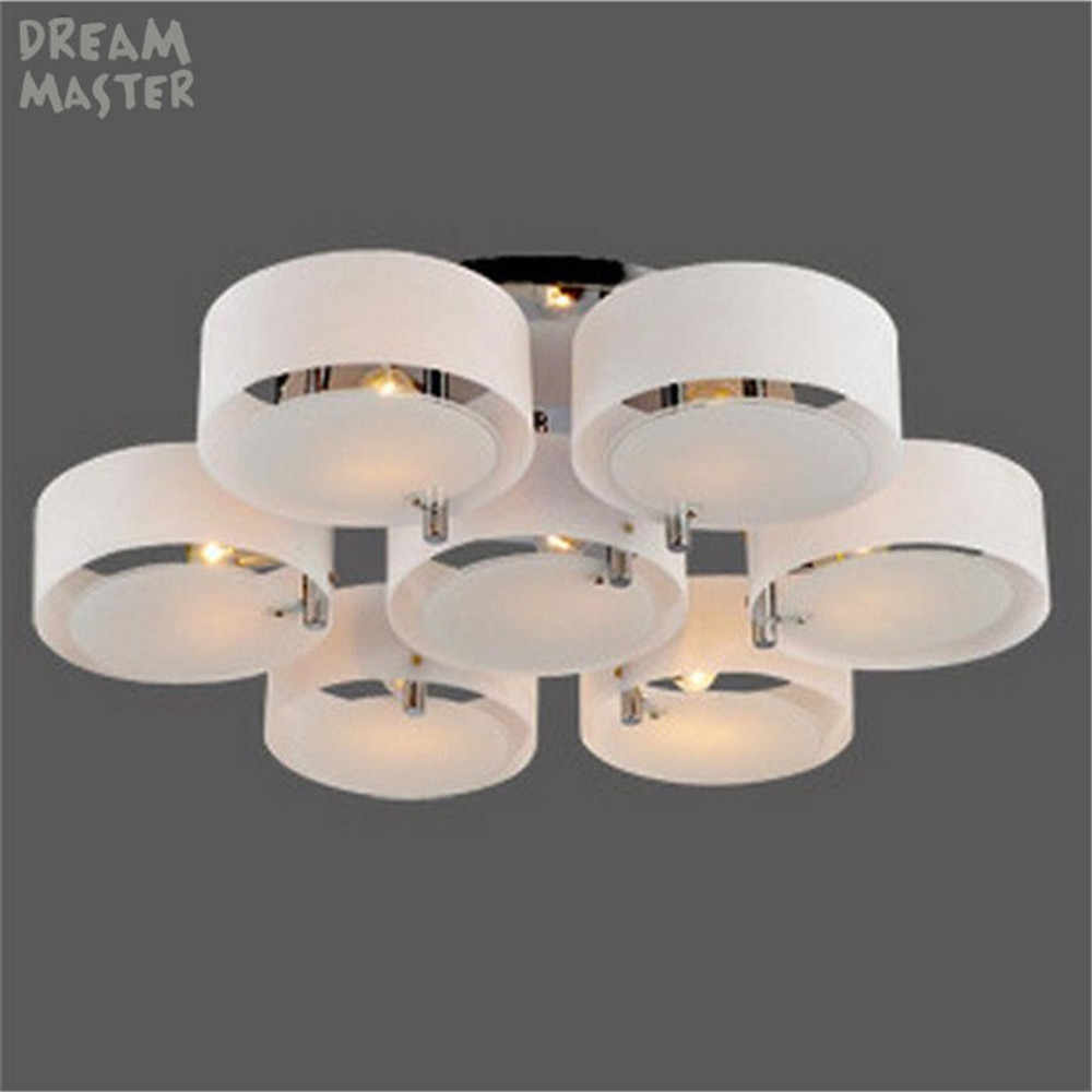 Glass Lamp Ceiling Modern Glass Celling Chandeliers Light Platfon Led Stainless Stee Lamp Ceiling Lights For Living Room E27 3 5 7 Light Lustres