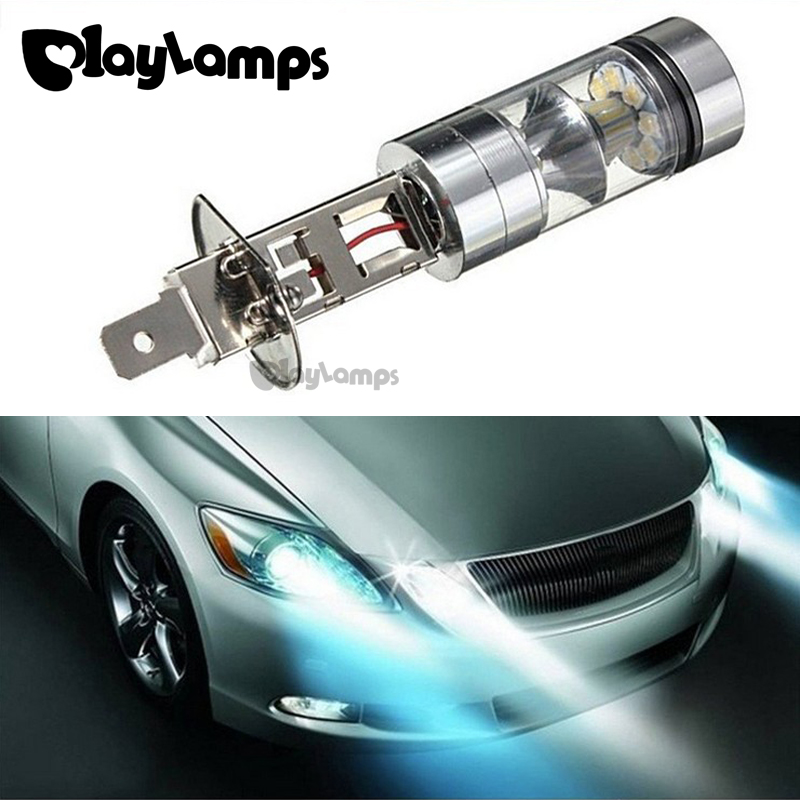 2x H1 100W High Power Headlight LED white Light 20 3030 SMD Fog/Driving DRL Daytime Running Light Lamp Bulbs for DC 12V 8000K dc12v h7 7 5w 5led led fog light high power car auto led xenon white daytime running light bulbs headlight head lights