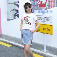 White Girls Boutique Outfits Embroidered Rose Top T shirt Denim Skirt Teenage Girls Clothing Sets Flower Kids Clothes Girls 2pcs