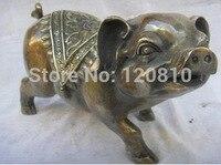 """Chinesische Tierkreis jahr Von Tier Bronze Kupfer """"Fu"""" Schwein Statue-in Statuen & Skulpturen aus Heim und Garten bei"""