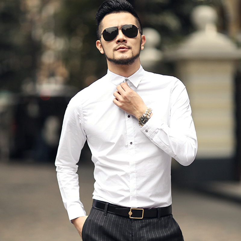 2018 New Autumn Fashion Brand Men Clothing Slim Fit Men Long Sleeve Shirt Men solid Cotton Casual Men Shirt Social