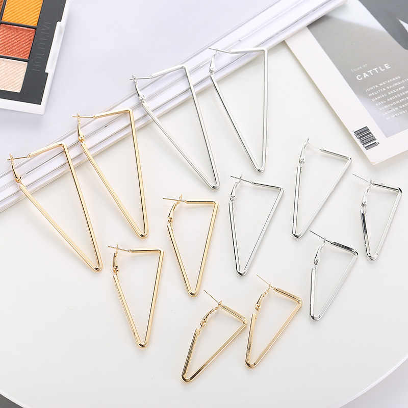 Trendy 2018 Women's Metal Triangle Hoop Earrings Punk Jewelry Personalized Female Gold Silver Geometric Big Earring For Women
