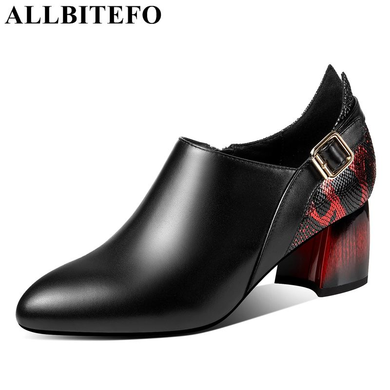 ALLBITEFO EURO size 33 42 Snake pattern red heel shoes genuine leather women high heel shoes
