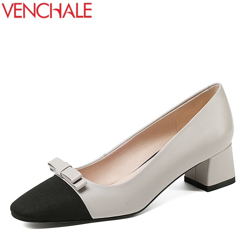 VENCHALE bowtie decoration zapatos mujer square toe convenient slip-on shoes kitten heels wedding woman absorb sweat pumps sweet women high quality bowtie pointed toe flock flat shoes women casual summer ladies slip on casual zapatos mujer bt123